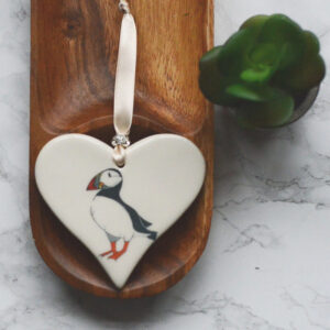 puffin on ceramic heart